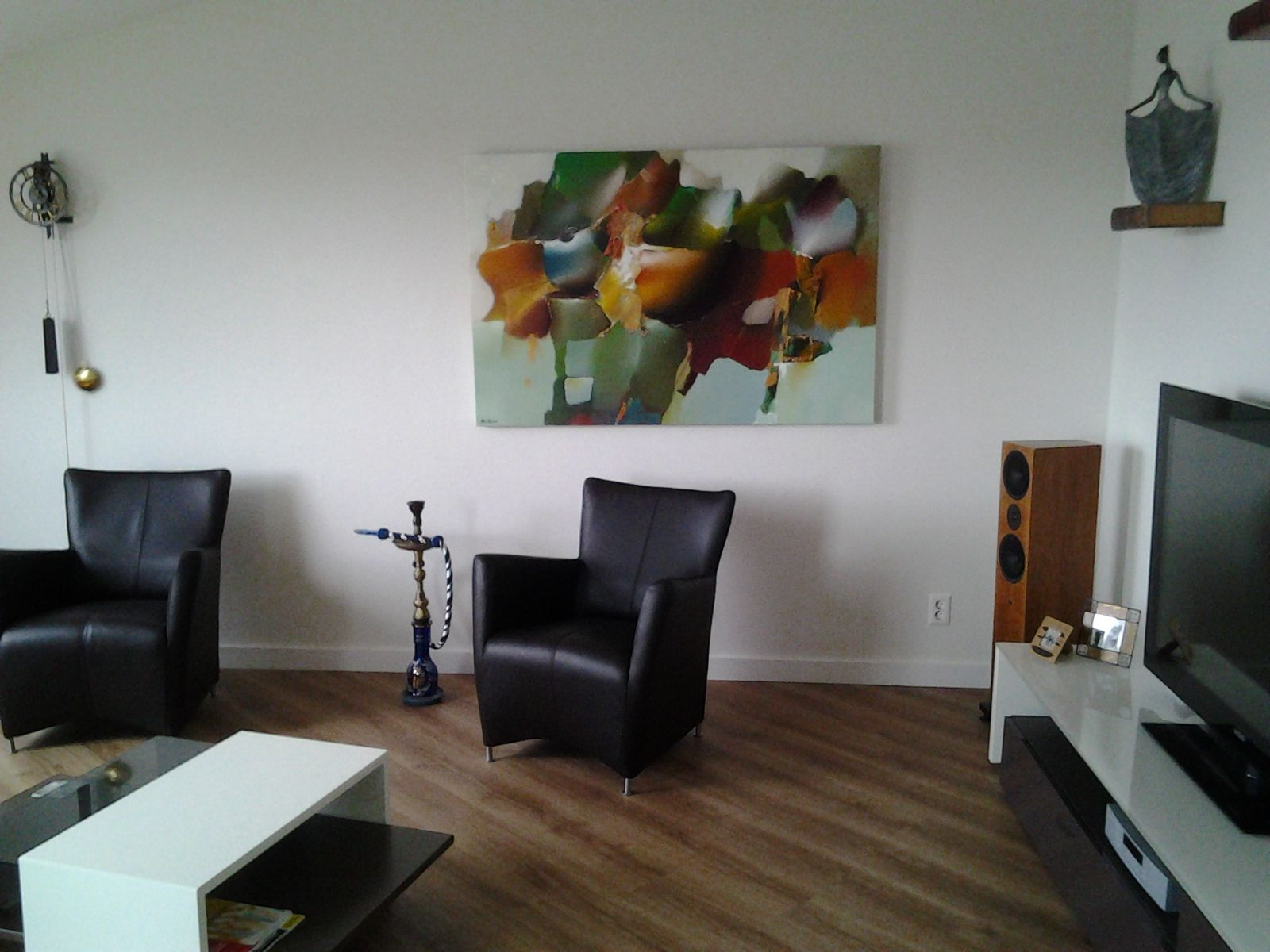Groot Schilderij Woonkamer : Arie koning een schilderij met zachte kleuren op een lichte of