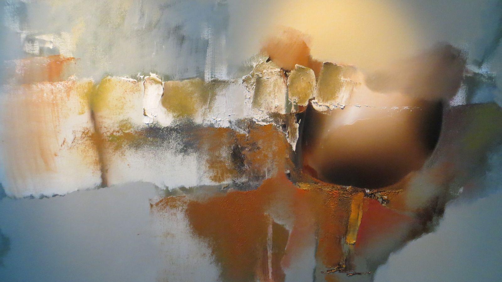 Arie koning abstracte bloemschilderijen met warme kleuren for Moderne schilderijen