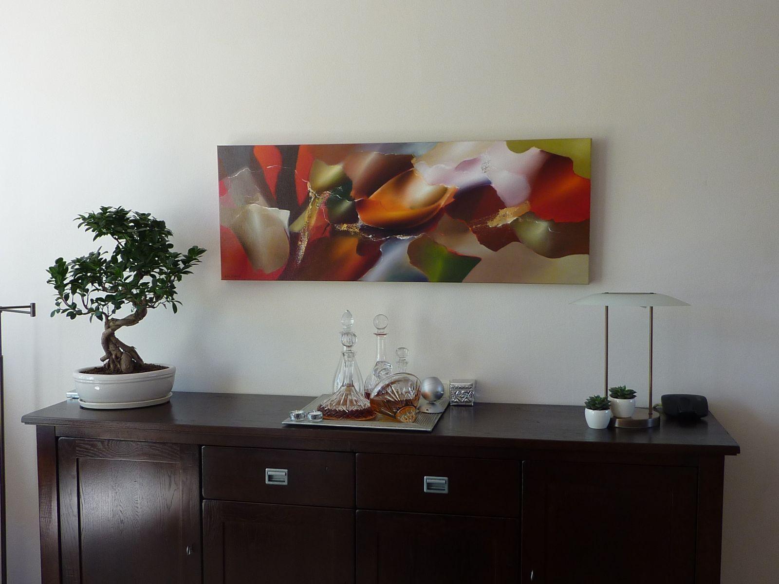 Arie koning abstracte schilderijen kopen en moderne schilderkunst in warme kleuren interieur - Moderne kamer volwassen schilderij ...